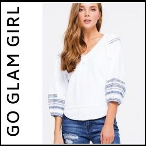 THERMAL CHIC!  Embroidered V-Neck Top